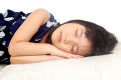 Girl sleeping. On white background Stock Photography