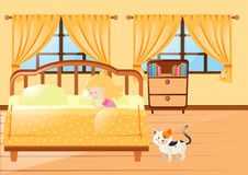 Girl sleeping in yellow bedroom Royalty Free Stock Images