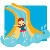 Girl sliding down the pool slide Royalty Free Stock Photography