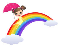 Girl sliding rainbow Royalty Free Stock Photography