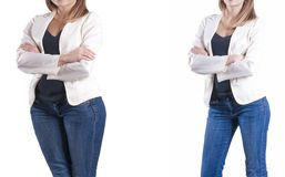 Girl slimming before and after the diet excess success stock photos