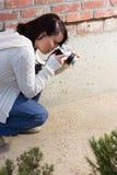 Girl with SLR photo camera. Girl shooting SLR photo camera Stock Images