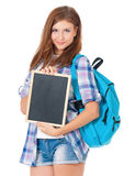 Girl with small blackboard Royalty Free Stock Images