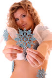 Girl with small  blue snowflakes Stock Photo