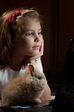Girl with a small bunny Stock Image
