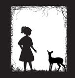 Girl and small deer silhouette, forest story, black and white, childhood memories, Stock Photos