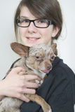 Girl with small dog royalty free stock photo