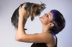 The  girl and small dog Royalty Free Stock Image