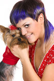 The  girl and small dog Royalty Free Stock Photography