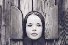Girl in the small hous Stock Image