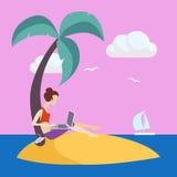 Girl On Small Island Working Freelance Royalty Free Stock Photo