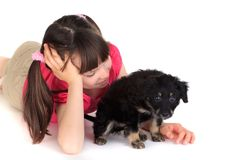 Girl with small puppy dog Royalty Free Stock Photo