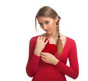 Girl with small red heart Stock Photo