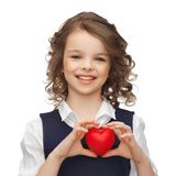Girl with small red heart Royalty Free Stock Image