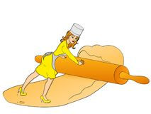 Girl small. Women working in her confectionery, roll out the dough with a rolling pin. Object on a white background. Pop art girl small cook pizza. Women working Stock Photography