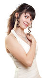 A girl in a smart white dress Stock Photo