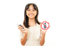 Girl with a smartphone Stock Photography