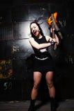 Girl Smashing Guitar Stock Images