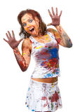 Girl Smeared In Paint Stock Photo