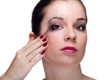 Girl with smeared makeup Stock Image