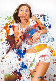 Girl smeared in paint. Girl lies and dreams, she was all smeared in paint Royalty Free Stock Images