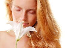 Girl smell flower Royalty Free Stock Photos