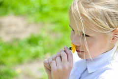 Girl  smelling dandelion. Portraite of little blonde girl  smelling dandelion Stock Photo