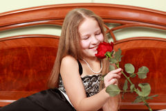 The girl smelling a flower Stock Image