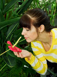 Girl smelling flower Royalty Free Stock Photos