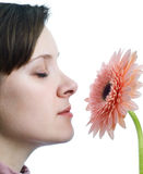 Girl smelling flower Royalty Free Stock Photography