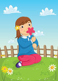 Girl Smelling Flower Vector Illustration Stock Photos