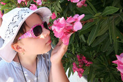 Free Girl Smelling Flowers Stock Image - 34295241