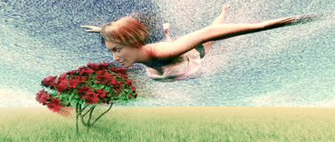 Perfume. Fantasy scene floating woman reacting to perfume from flowers Stock Photo