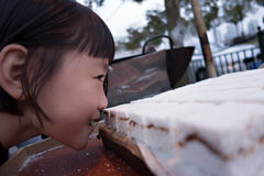 A girl smelling the rice cake. Stock Photography