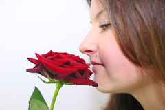 Girl smelling a rose. Girl smelling a red rose Royalty Free Stock Images