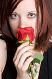 Girl Smelling Rose. Beautiful girl smelling red rose stock photos
