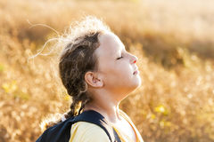 Girl Smells Fresh Air Stock Image