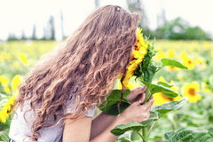 The girl smells sunflowers Stock Photo