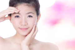 Girl Smile Face Close Up and Hand Touch Face Stock Photos