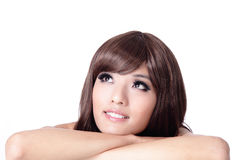 Girl smile face and look up to blank copy space Royalty Free Stock Images