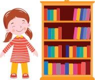 Girl smile near bookshelf. Girl love book and near the bookshelf reading studentn vector illustration