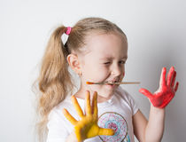 Girl smile and play Royalty Free Stock Photo