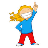 Girl smile and raising her finger cartoon. Full color Stock Image