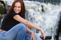 Girl&smile&waterfall Stock Image