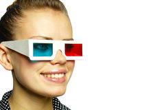Girl smiles in anaglyph points Stock Photos