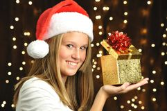 Girl Smiles with Open Gift Royalty Free Stock Photos