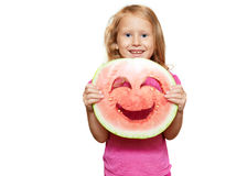 Girl with smiley of watermelon Stock Photography