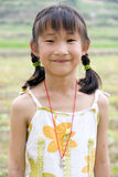Girl smiling. A Chinese girl is smiling happily in a farm Royalty Free Stock Image