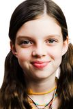 Girl Smiling. Portrait of a girl smiling isolated over white Stock Photography