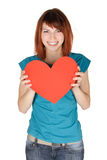Girl Smiling And Holding Red Paper Heart Royalty Free Stock Image
